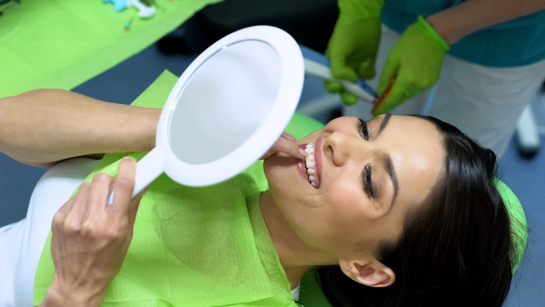 Attractive Lady Looking At Result Of Sealant Placement, Cosmetic Dentistry